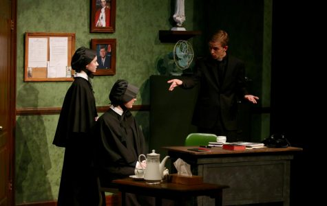 Nick Kime '17, Ella Schmidt, '17, and Kaitlyn Wallace '17 on stage during the production of Doubt.