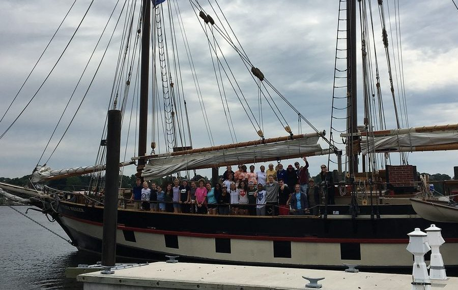 20 students, 6 crew members, and 6 teachers pose for a group picture in Connecticut after completing Year 1 of GYLI.