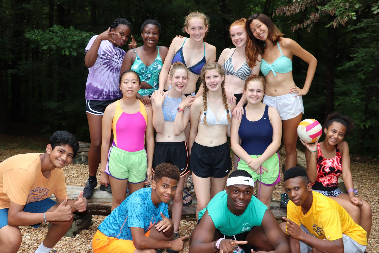 New students and buddies celebrate the end of the summer before returning to school.