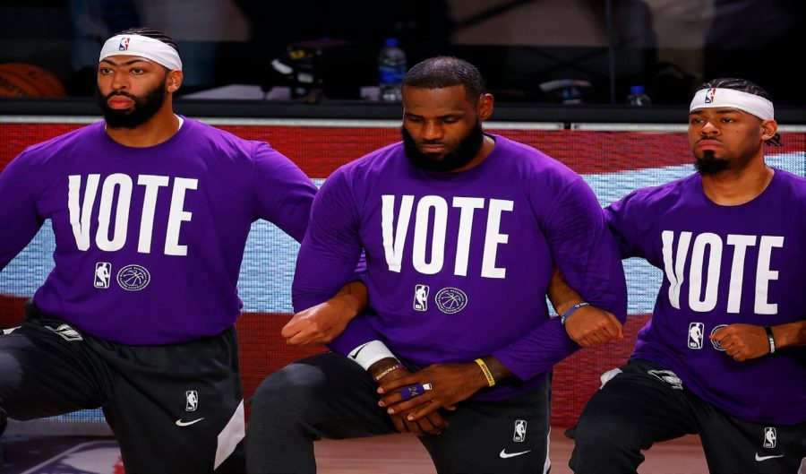 Star Athletes Use Platform for Message: Vote, Please