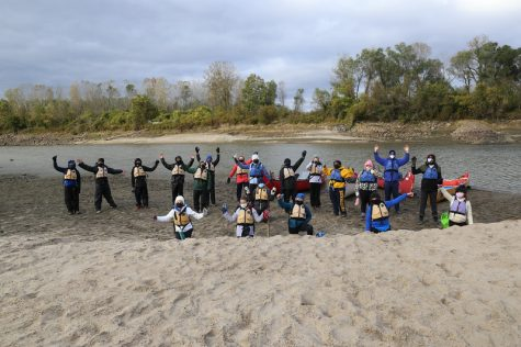 7th-Graders pose on their Canoe Trip in lieu of their first trip to Drey Land.